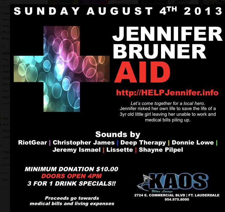Jennifer Bruner Aid Fundraiser - This Sunday Aug 4th